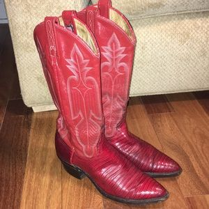 Vintage Dan Post Red Lizard Leather Cowboy Boots